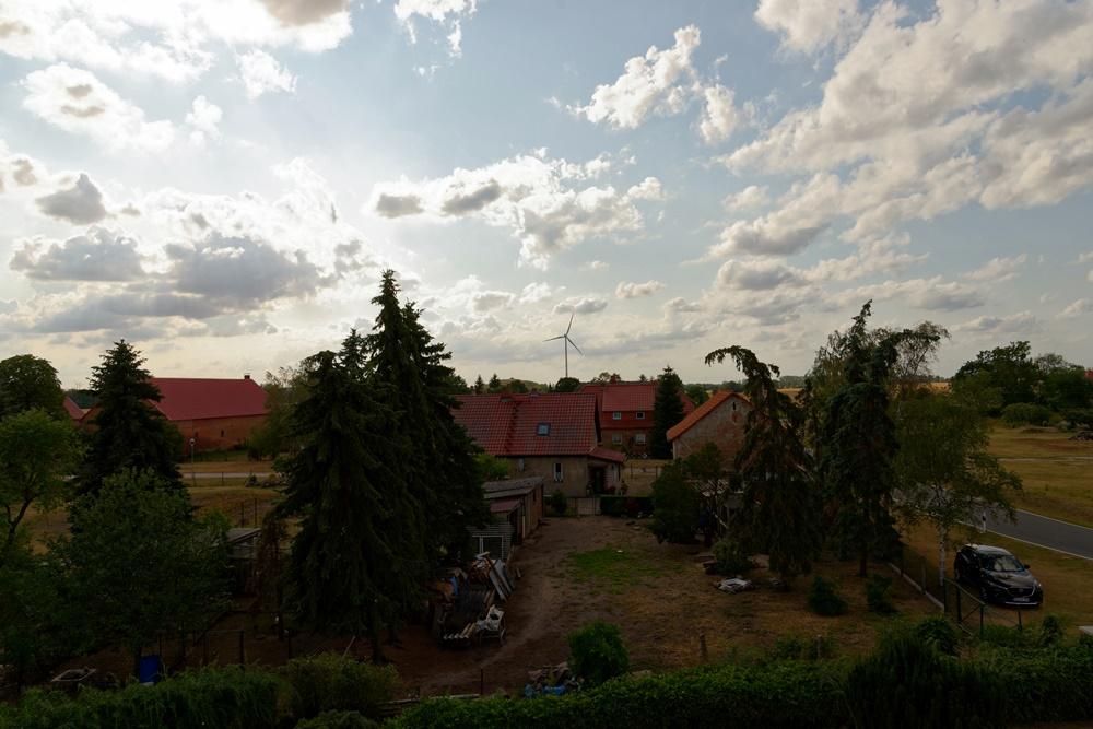 Blick von der Kirche in Wegezin Richtung Nordwest