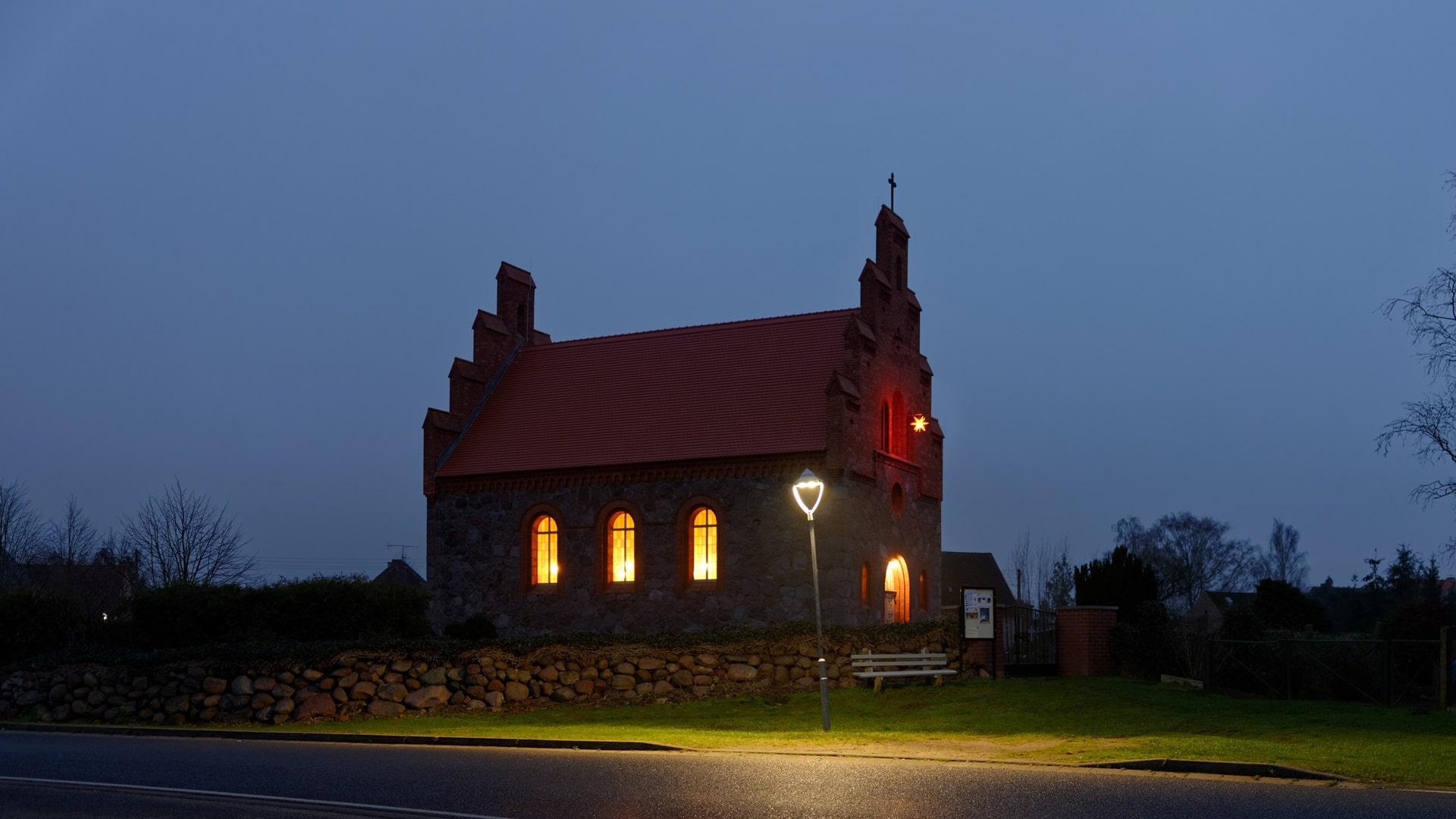 Kirche in Wegezin im Dezember 2020
