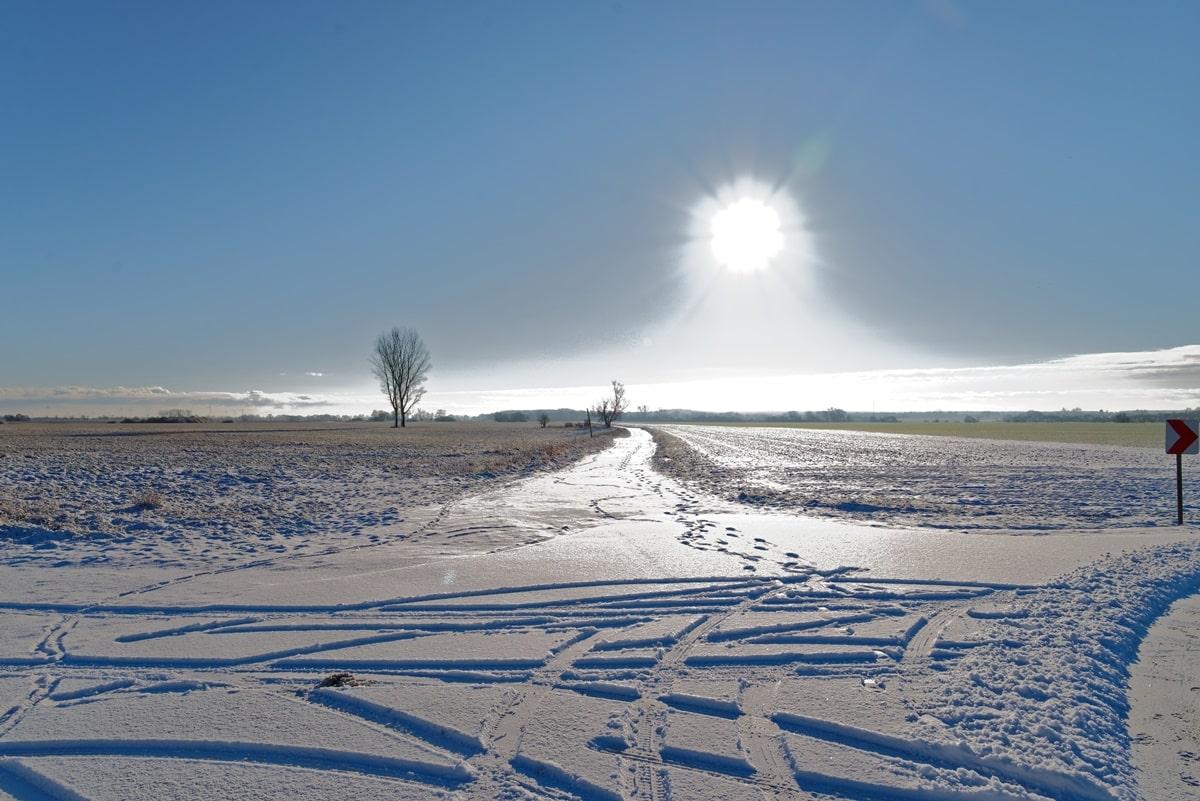 Richtung Spantekow im Schnee